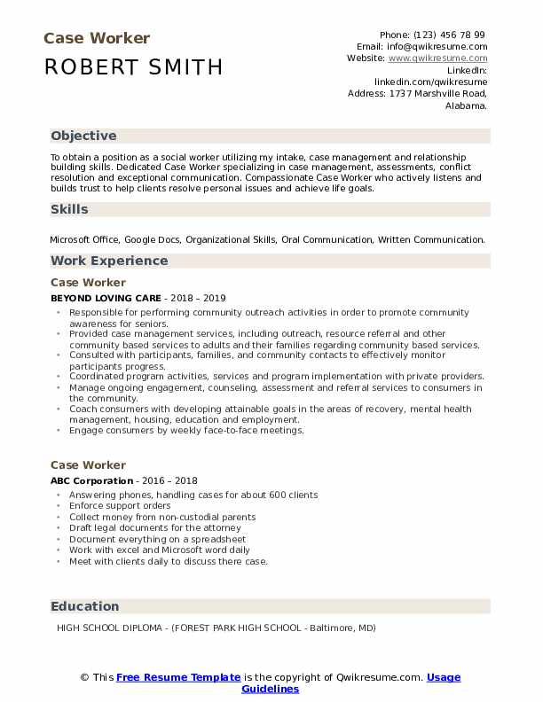 Case Worker Resume Template