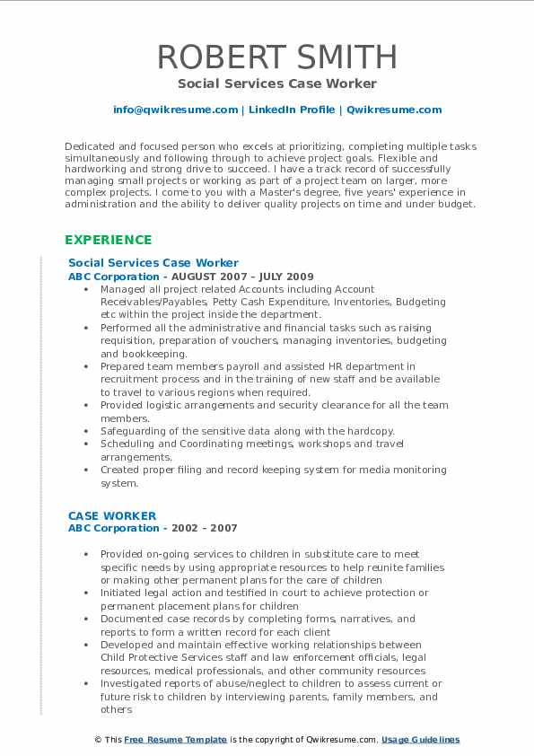 Social Services Case Worker Resume Format