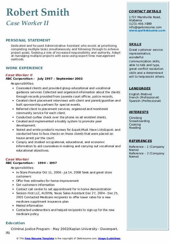 Case Worker II Resume Model