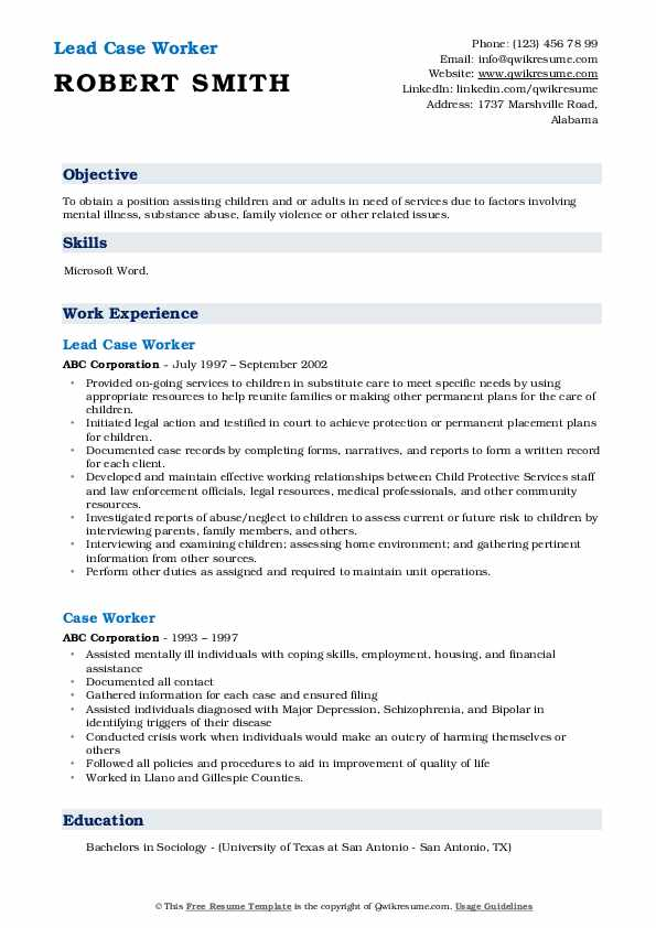 Lead Case Worker Resume Example