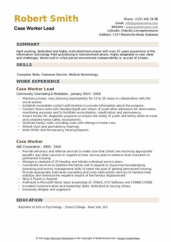 Case Worker Lead Resume Format