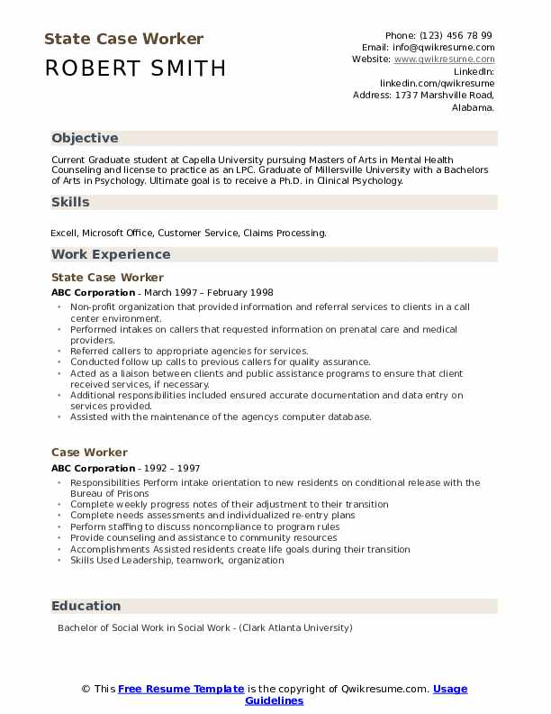 State Case Worker Resume Format