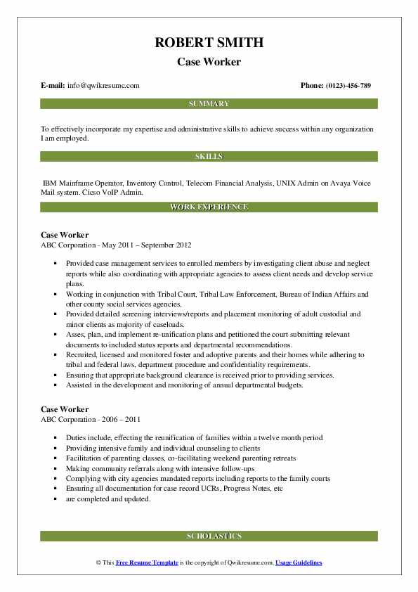 Case Worker Resume example