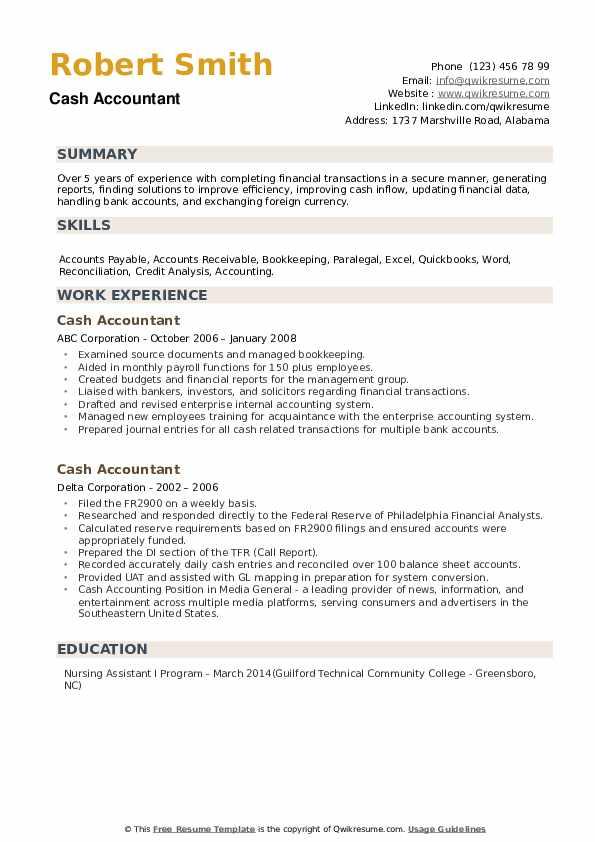 Cash Accountant Resume example