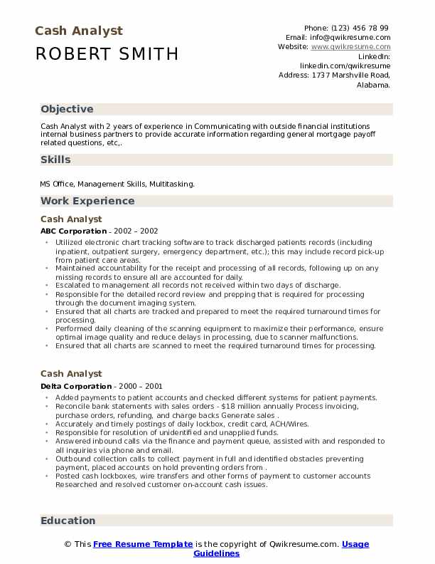 cash analyst resume sample