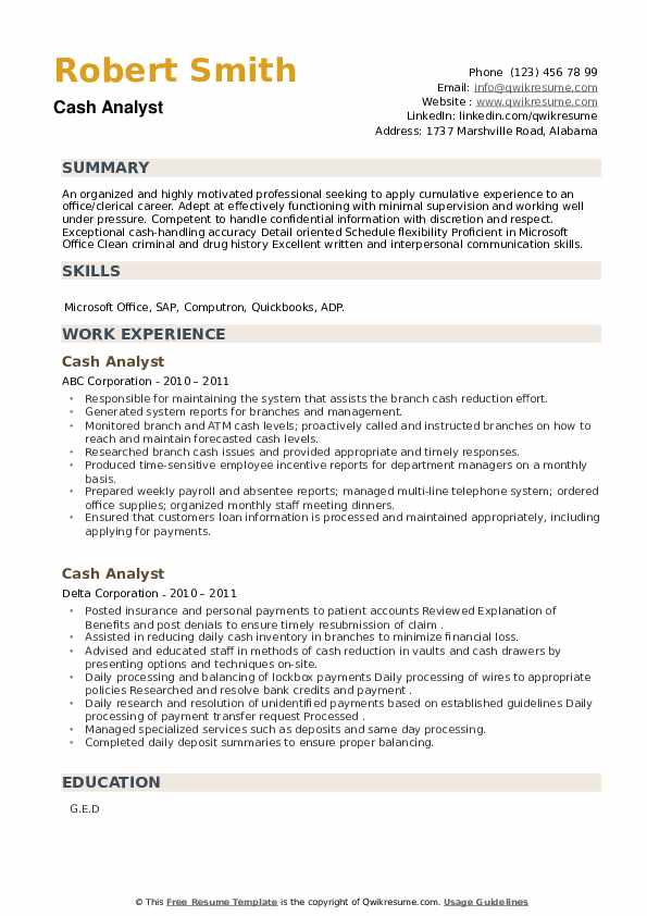 Cash Analyst Resume example