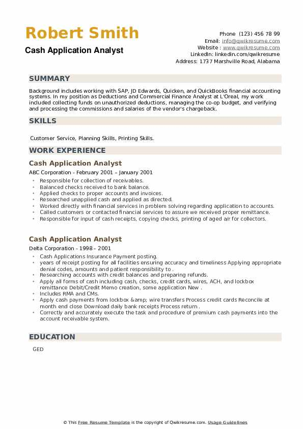 Cash Application Analyst Resume example