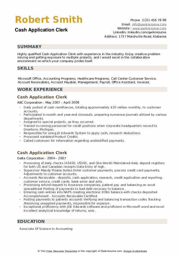 Cash Application Clerk Resume example