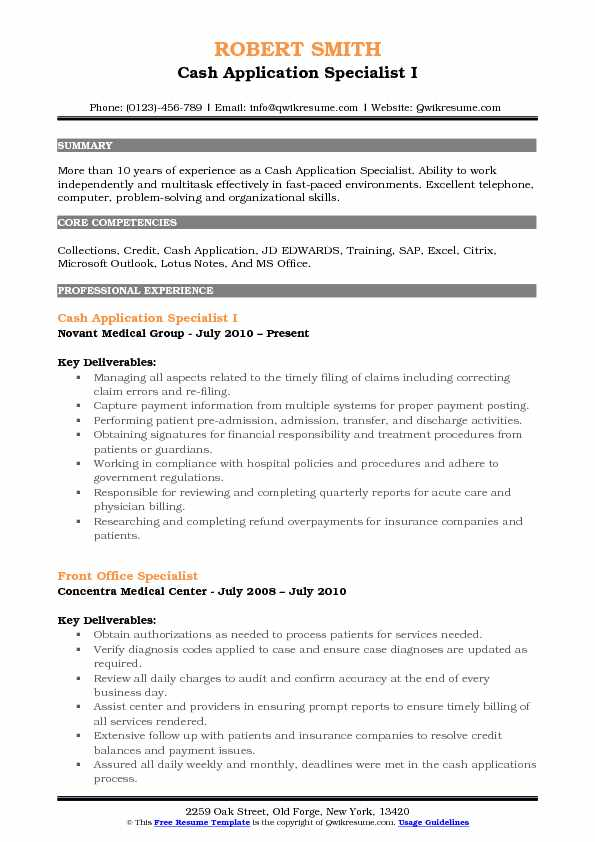 Cash Application Specialist I Resume Example