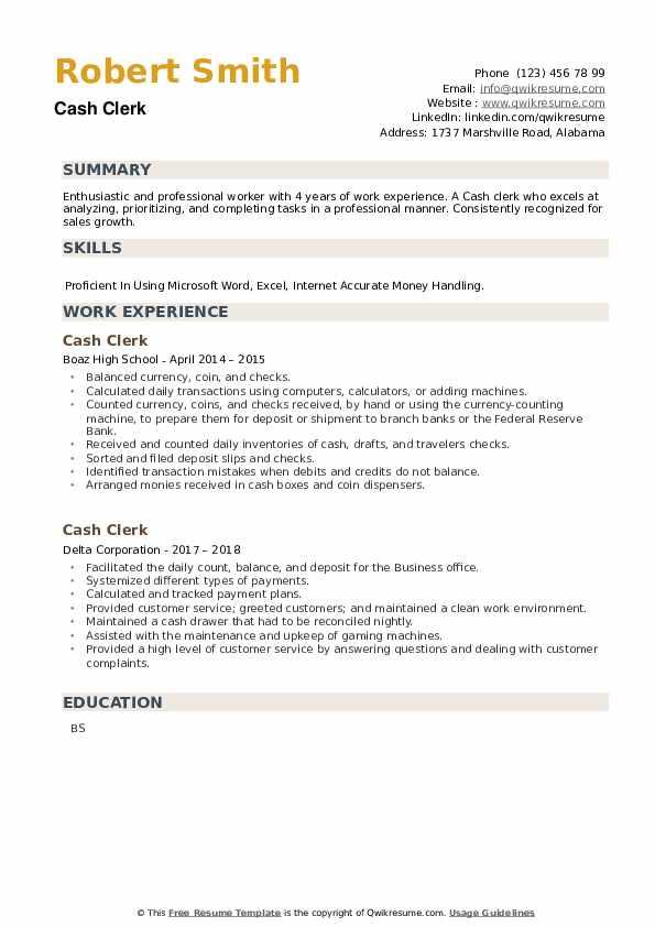 Cash Clerk Resume example