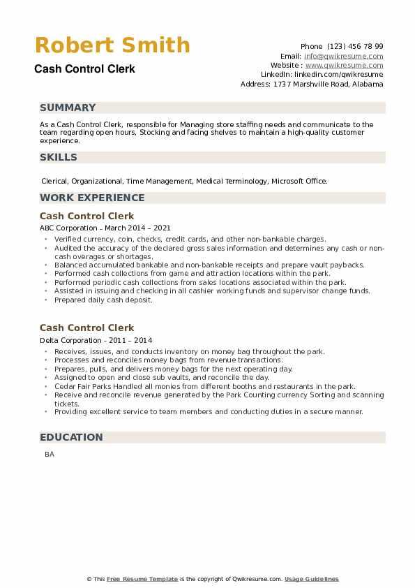 Cash Control Clerk Resume example