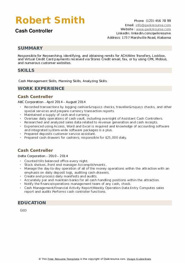 Cash Controller Resume example