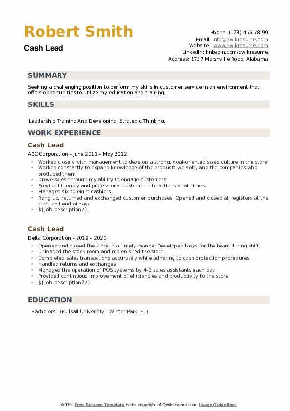 Cash Lead Resume example