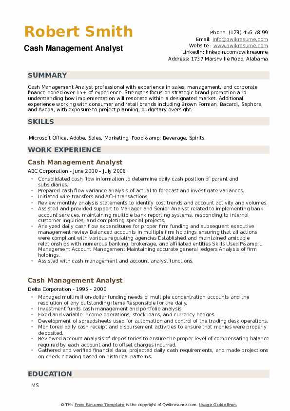 Cash Management Analyst Resume example