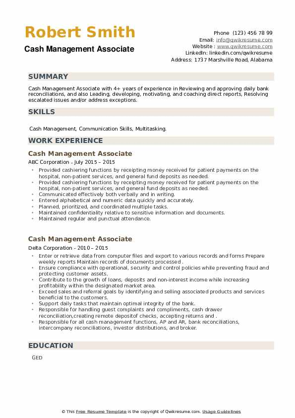 Cash Management Associate Resume example