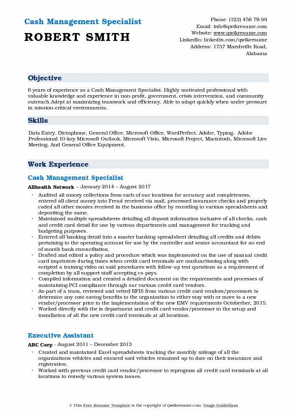 Cash Management Specialist Resume Model
