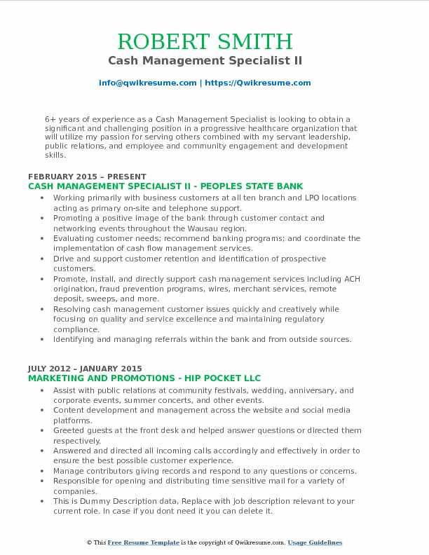 Cash Management Specialist II Resume Model