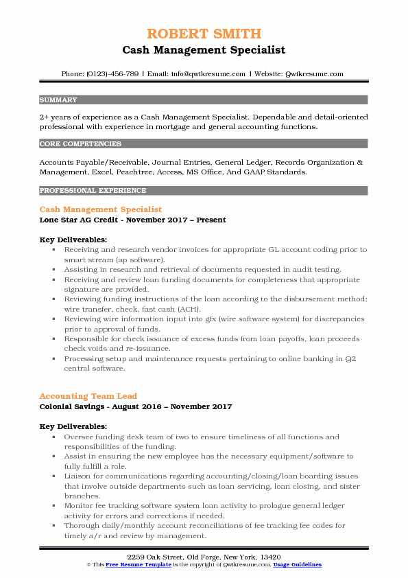 Cash Management Specialist Resume Format