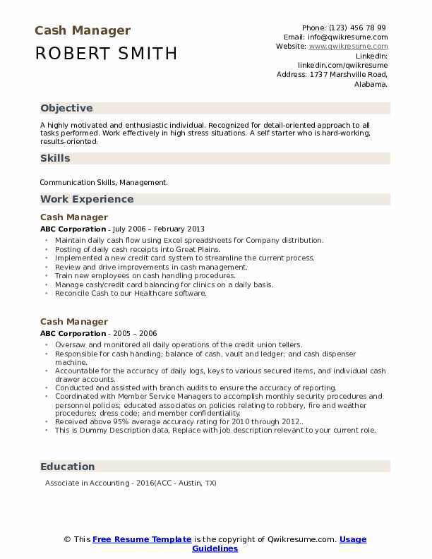 Cash Manager Resume example