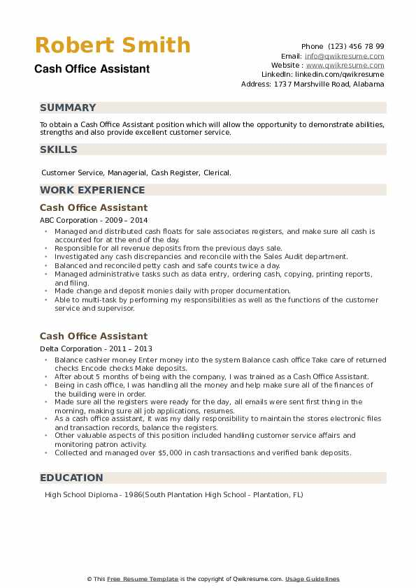 Cash Office Assistant Resume example