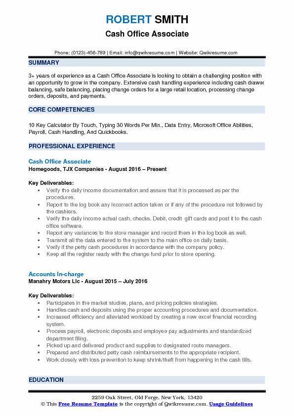 Cash Office Associate Resume Format