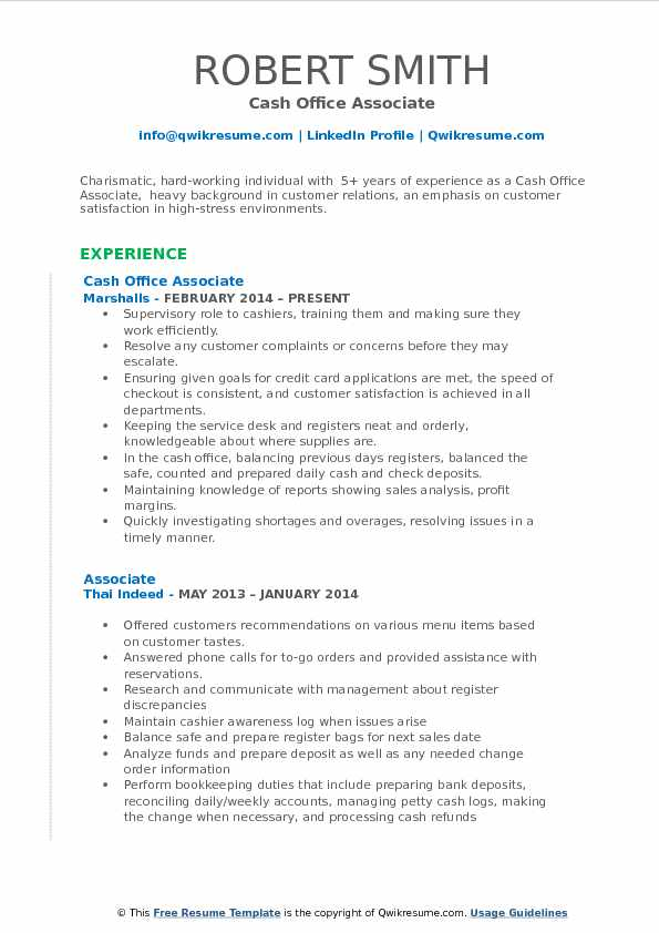 Cash Office Associate Resume Sample