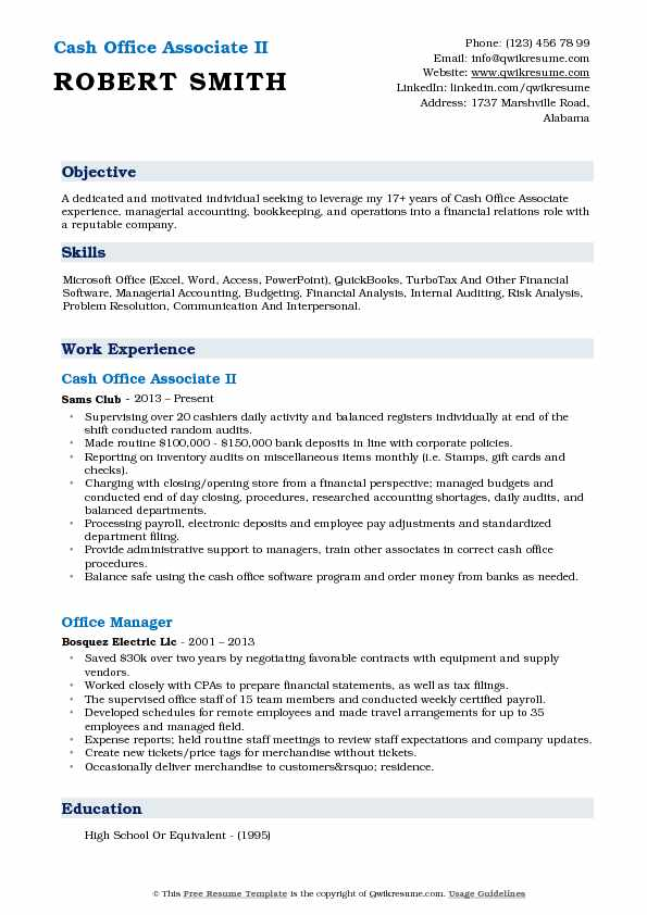 Cash Office Associate II Resume Example