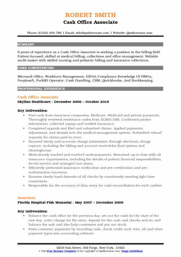 cash office associate resume example