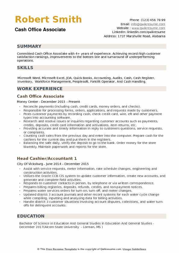 cash office associate resume samples