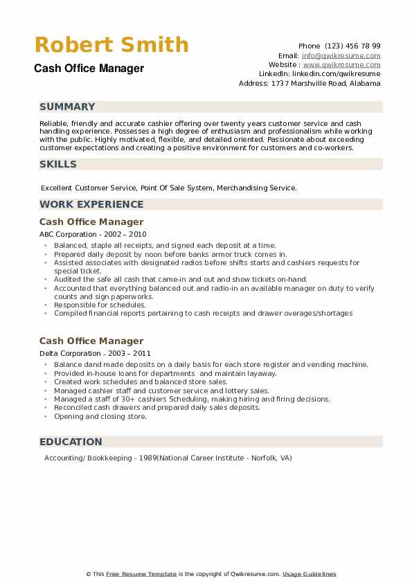 Cash Office Manager Resume example