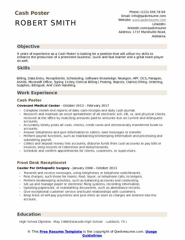 Cash Poster Resume Template