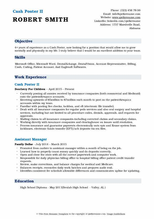 Cash Poster II Resume Template
