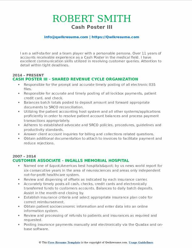 Cash Poster III Resume Sample
