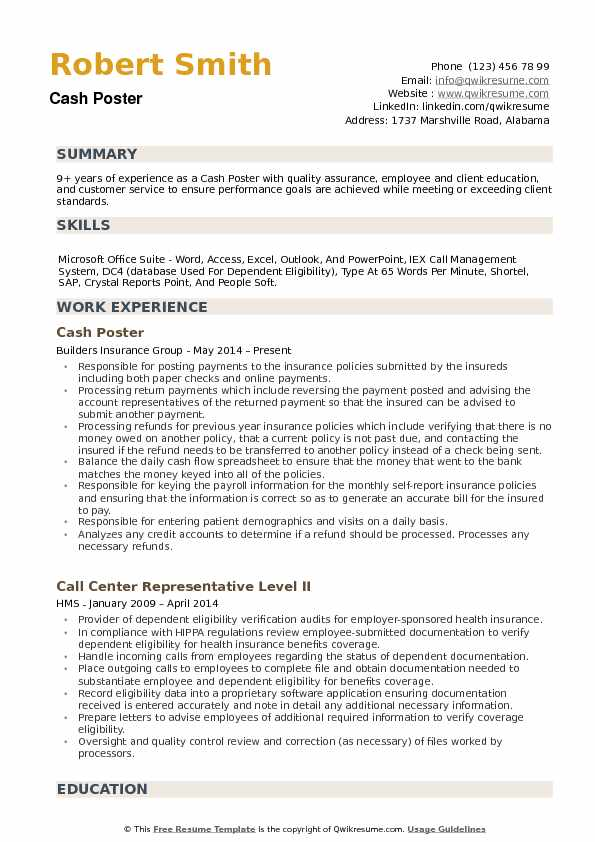 Cash Poster Resume example