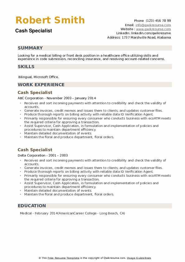 Cash Specialist Resume example