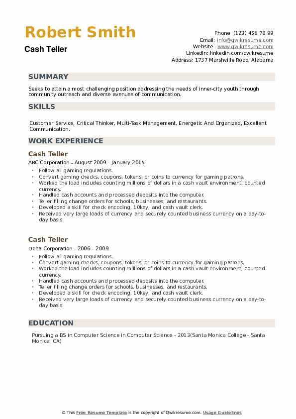 Cash Teller Resume example