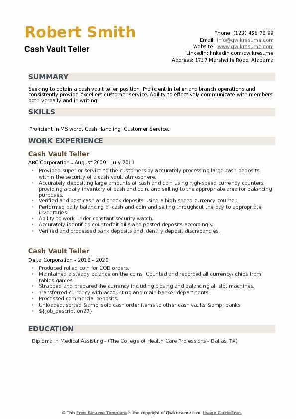 Cash Vault Teller Resume example