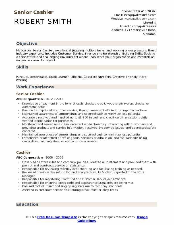 Senior Cashier Resume Format