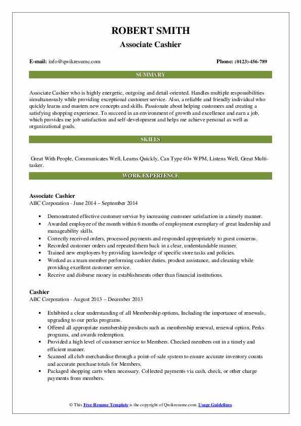 Associate Cashier Resume Format