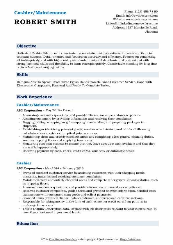 Cashier/Maintenance Resume Format