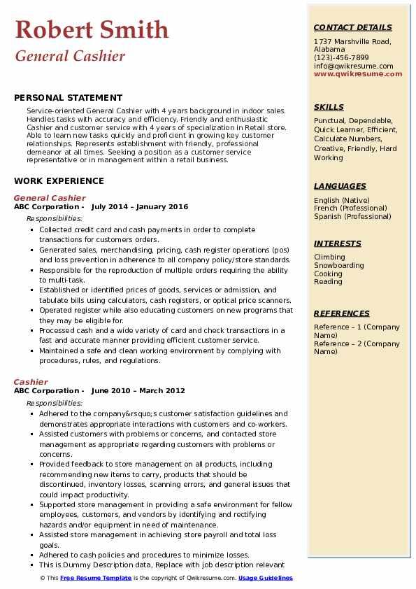 General Cashier Resume Model