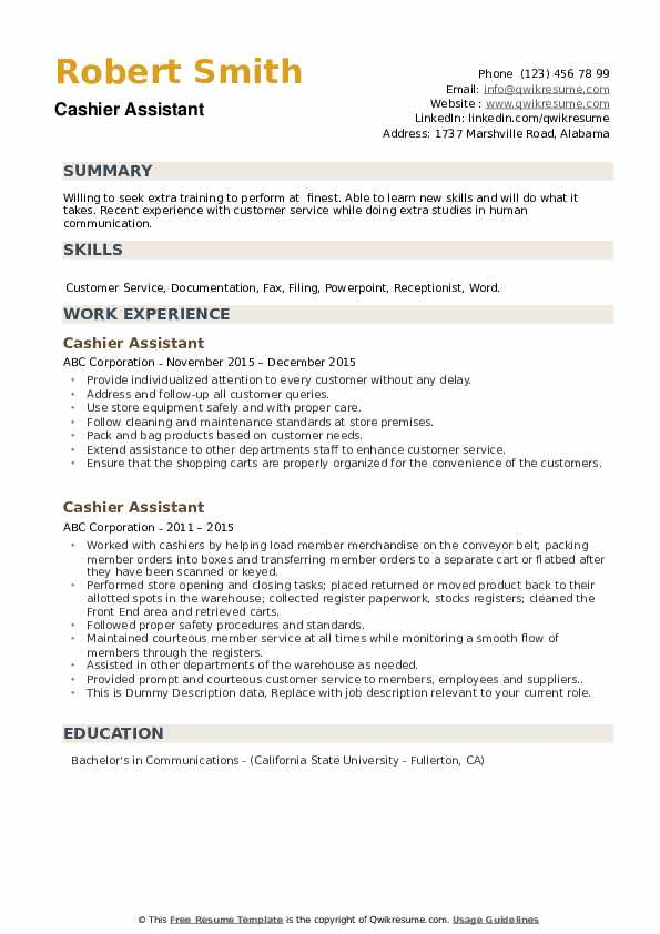 Cashier Assistant Resume example