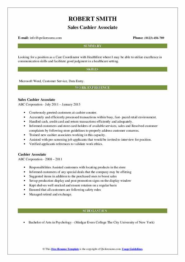 Sales Cashier Associate Resume Format
