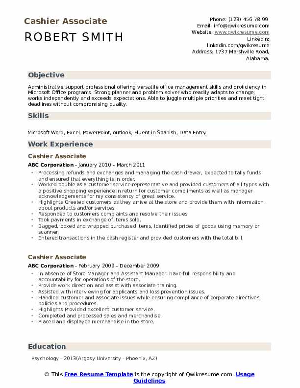 Cashier Associate Resume example