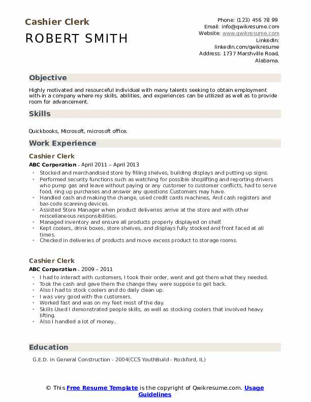 Cashier Clerk Resume Model