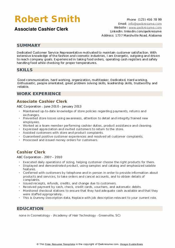 Associate Cashier Clerk Resume Format