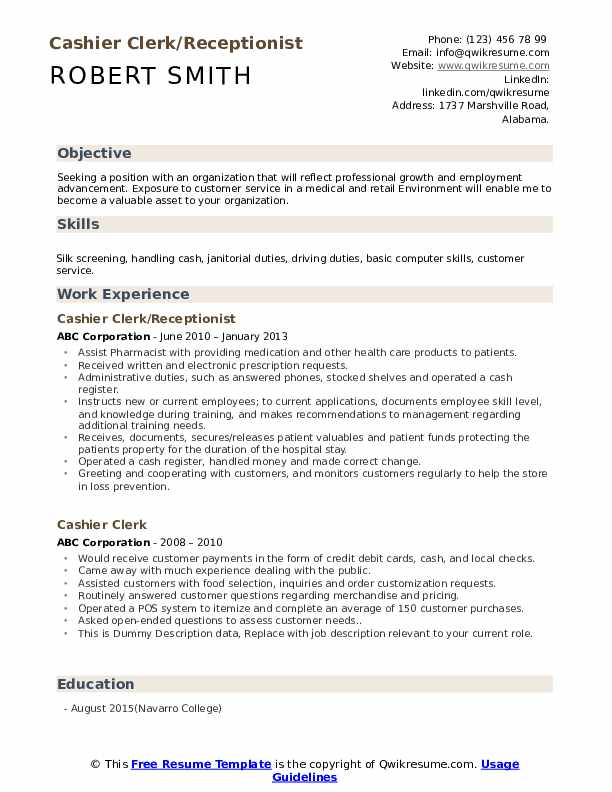 Cashier Clerk/Receptionist Resume Sample