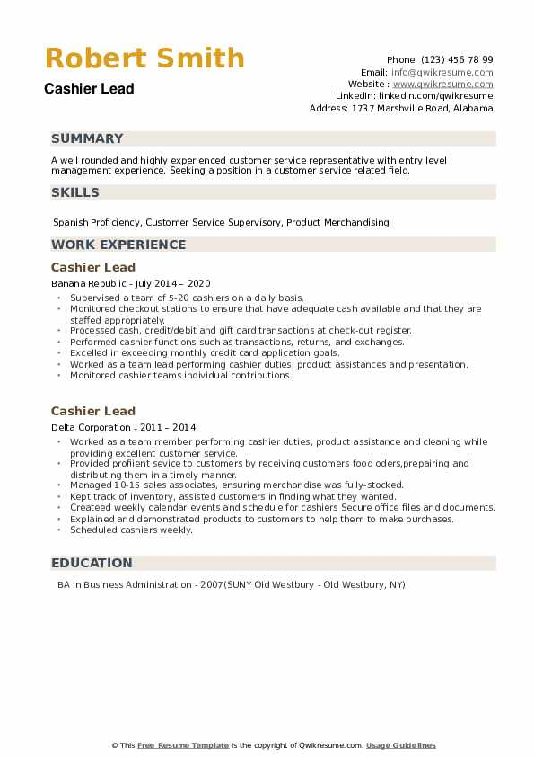 Cashier Lead Resume example