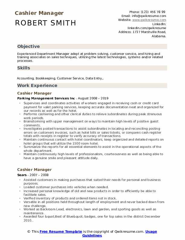 Cashier Manager Resume Template