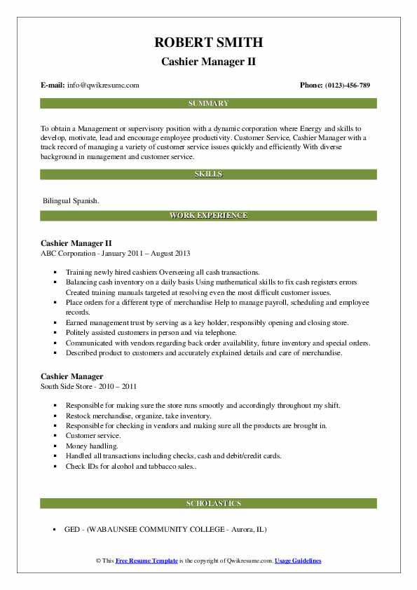 Cashier Manager II Resume Example